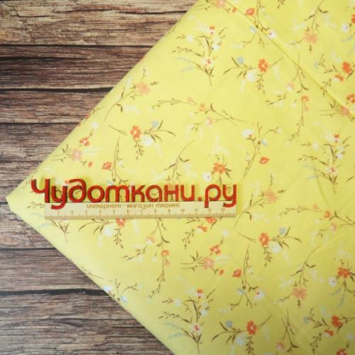 Ткань хлопок, 160 см, мелкие веточки цветов