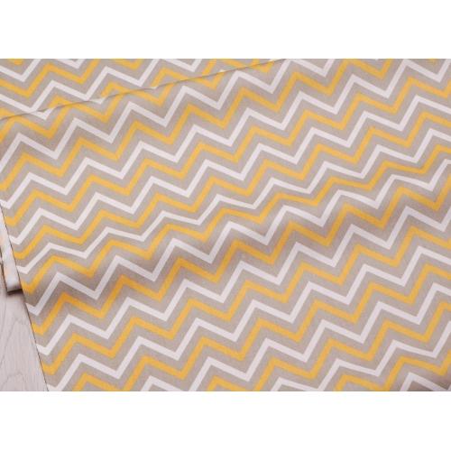 Сатин хлопок, 160 см, бело-серо-желтый зигзаг