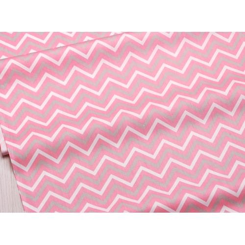 Сатин хлопок, 160 см, бело-серо-розовый зигзаг (новинка)