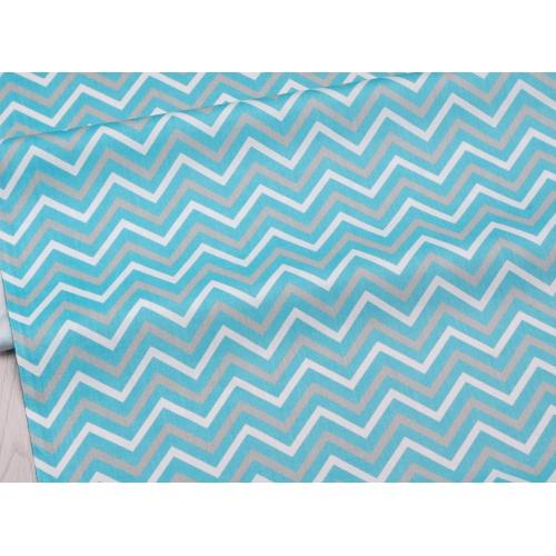 Сатин хлопок, 160 см, бело-серо-голубой зигзаг (новинка)