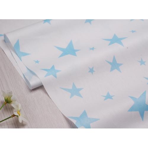 Сатин хлопок, 160 см, большие и маленькие голубые звезды, белый фон