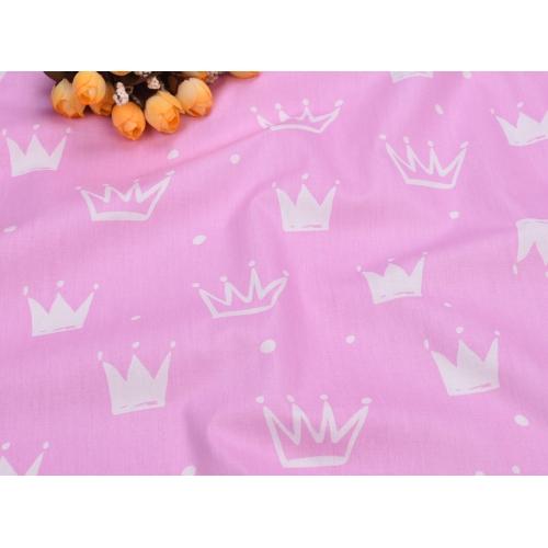 Сатин хлопок, 160 см, новые белые короны, розовый фон