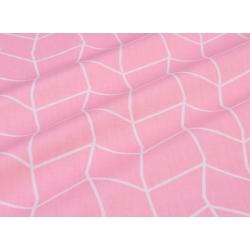 Сатин хлопок, 160 см, белые полосы-узор, розовый фон