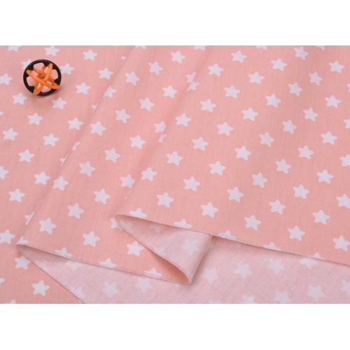 Сатин хлопок, 160 см, мелкие белые звездочки, персиковый фон (округлые углы)