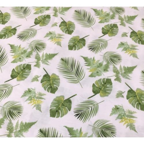Сатин хлопок, 160 см, зеленые листья, тропический лес