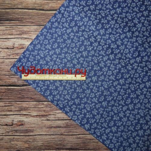 Ткань хлопок, 160 см, под джинсу 1 темный, мелкие цветочки