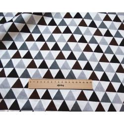Сатин хлопок, 160 см, серые, коричневые треугольники