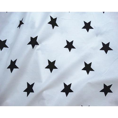 Сатин хлопок, 235 см, черные звезды, белый фон