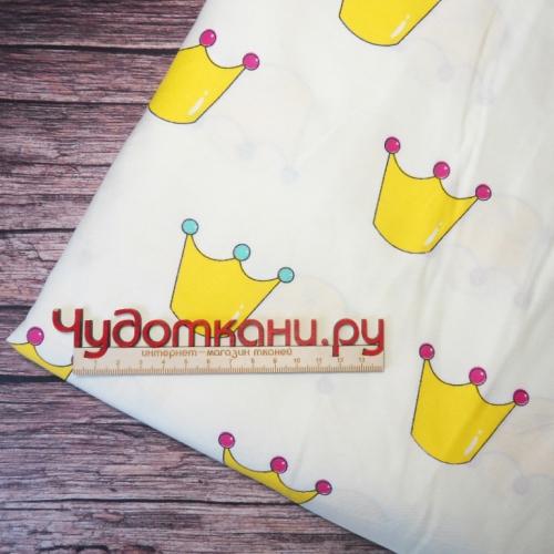 Ткань хлопок, 160 см, желтые короны, белый фон