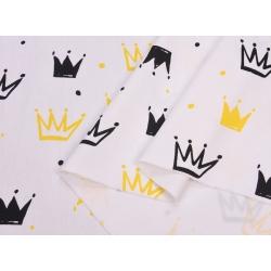 Сатин хлопок, 160 см, новые черные и желтые короны, белый фон