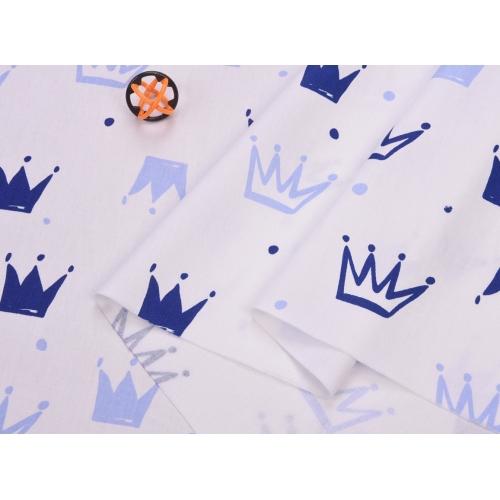 Сатин хлопок, 160 см, новые голубые и синие короны, белый фон