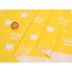 Сатин хлопок, 160 см, новые белые короны, желтый фон