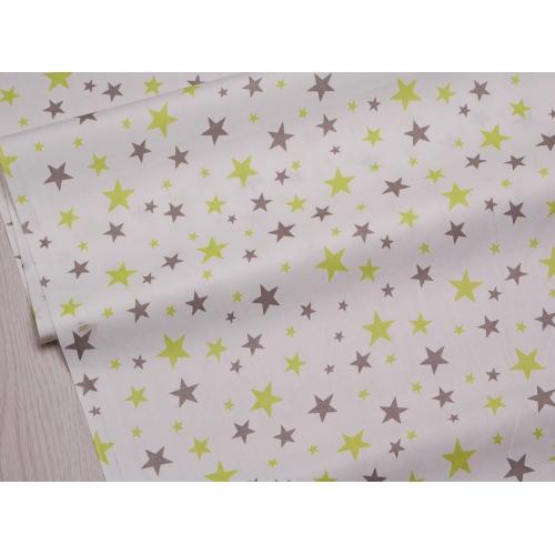 Сатин хлопок, 160 см, мелкие серые и салатовые звезды, белый фон