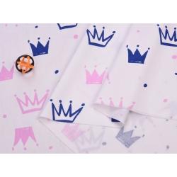 Сатин хлопок, 160 см, новые розовые и голубые короны, белый фон