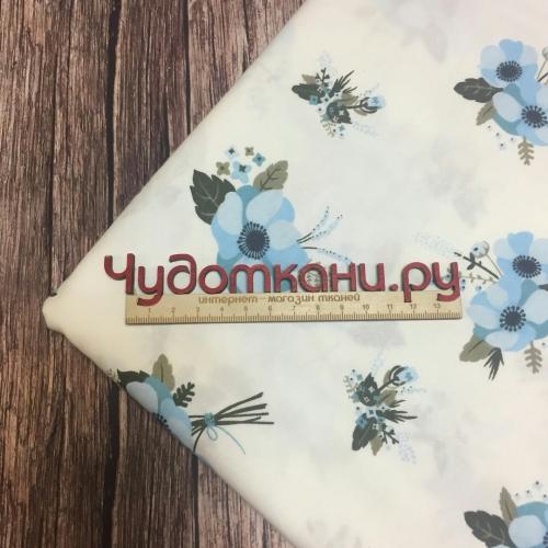 Ткань хлопок, 160 см, голубые цветы, белый фон
