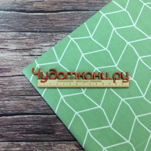 Сатин хлопок, 160 см, белый узор - линии, зеленый фон