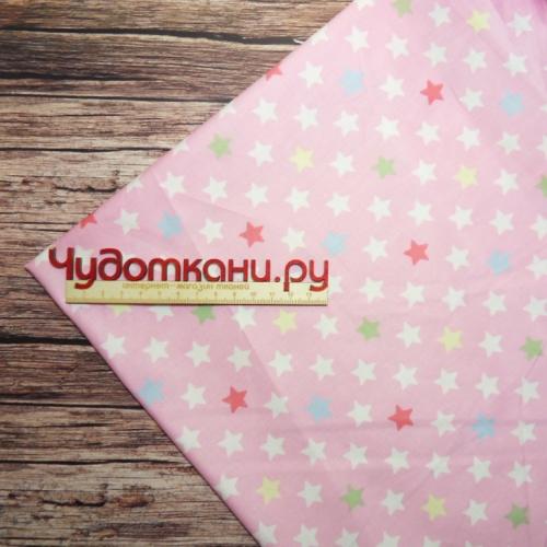 Сатин хлопок, 160см мелкие звездочки, розовый фон