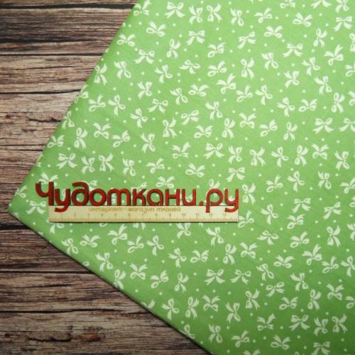 Сатин хлопок, 160см бантики, зеленый фон