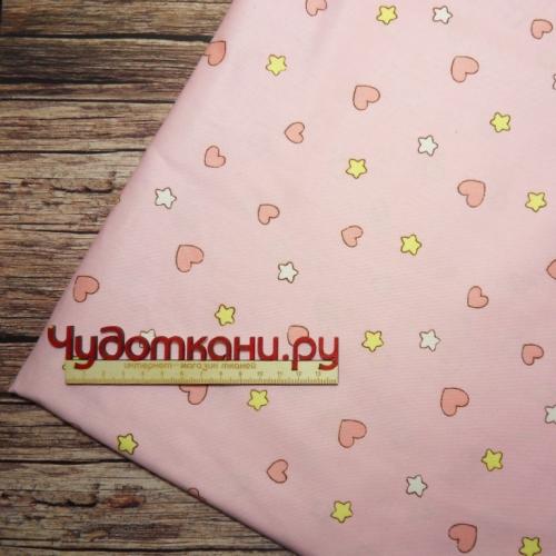 Ткань 160см 100%  х/б Китай арт. 333 мелкие сердечки и звездочки розовый фон