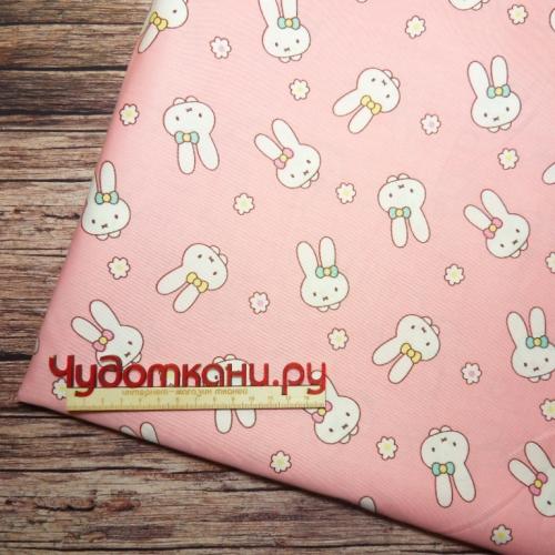 Ткань 160см 100%  х/б Китай арт.261 белые зайки розовый фон