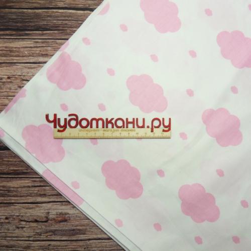 Ткань хлопок, 160 см, розовые облачка на белом