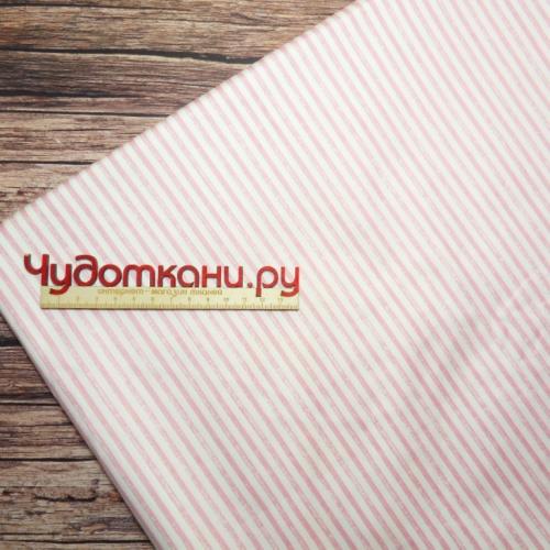 Ткань хлопок, 160 см, бело-розовая полоса