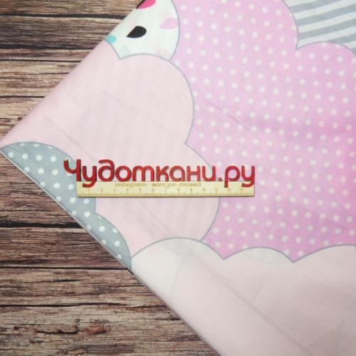Ткань хлопок, 235 см, розовые облака