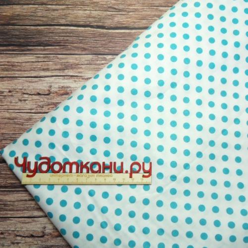 Ткань хлопок Китай 160 см, голубой горох на белом