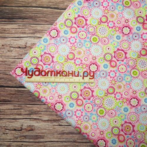 Ткань хлопок, 160 см, арт.452 круги-цветы, розовый фон