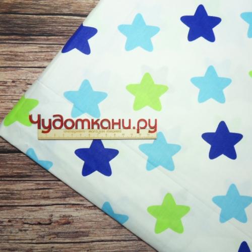Сатин хлопок Китай, ширина 160 см, мятные, синие, салатовые звезды-пряники