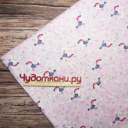Ткань хлопок, 160 см, птица розовый фон