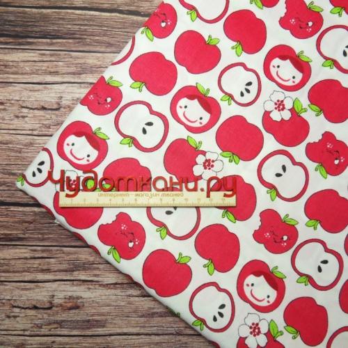 Ткань хлопок Китай, ширина 160 см, красные яблоки крупные