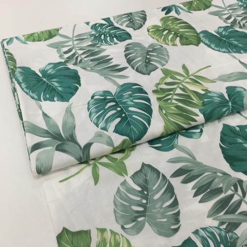 Сатин хлопок, 160 см, зеленые листья, монстера