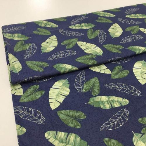 Сатин хлопок, 160 см, зеленые листья, синий фон