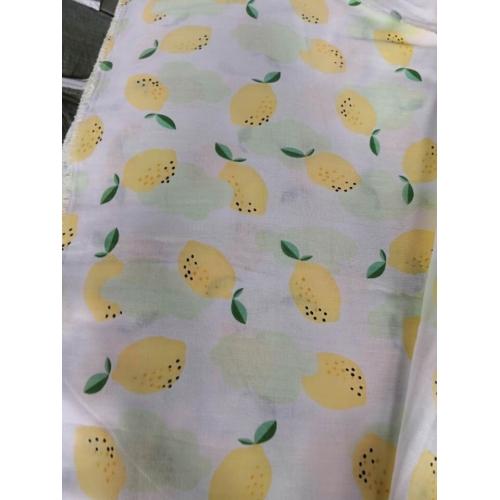 Муслин, 153 см, 100% хлопок, желтые лимоны