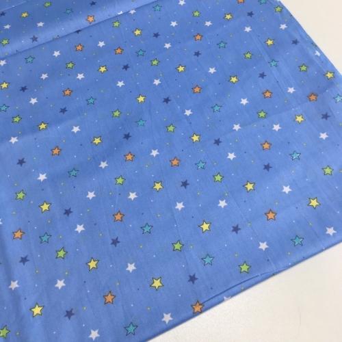 Сатин хлопок, 160 см, мелкие звездочки на синем (компаньон космоса)