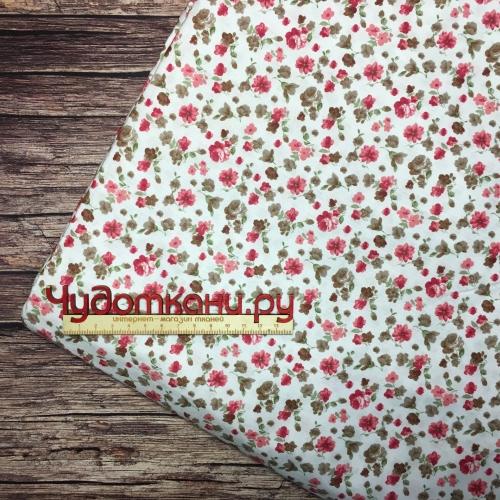 Ткань хлопок, 160 см, мелкие бордово-коричневые цветы на белом