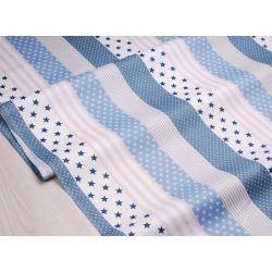 Сатин хлопок, 160 см, мелкие звезды, широкие полосы, синий фон