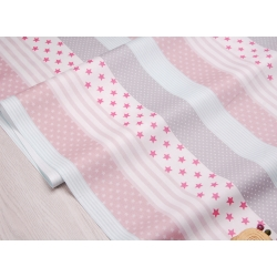Сатин хлопок, 160 см, мелкие звезды, широкие полосы, мятно-розовый цвет