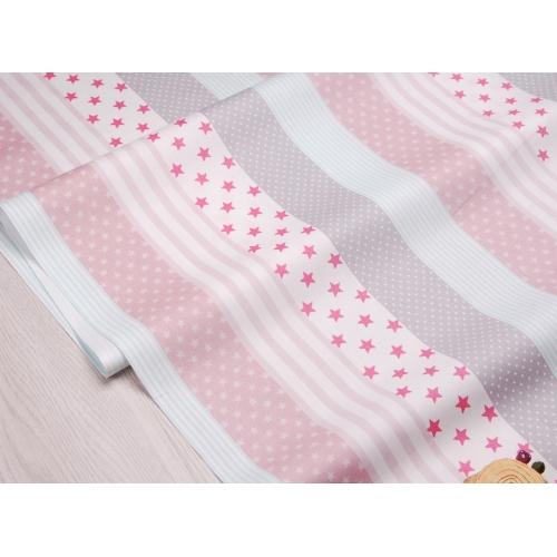 Сатин хлопок, 160 см, мелкие звезды, горошек, широкие полосы, мятно-розовый цвет