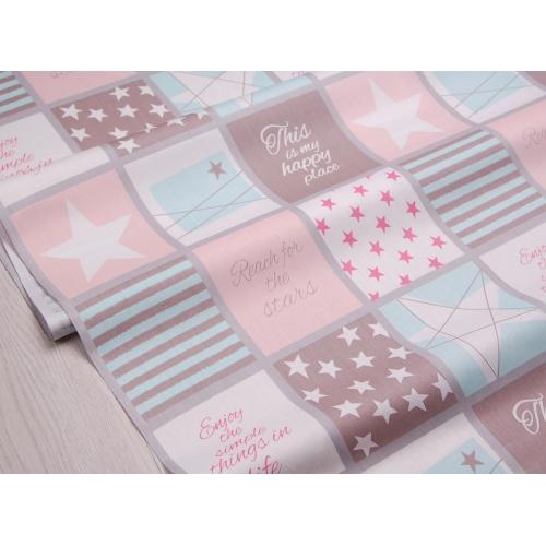 Ткань хлопок, 160 см, звезды, полосы, квадраты, мятно-розовый цвет