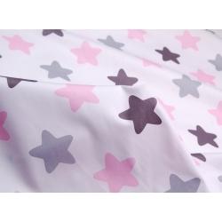 Сатин хлопок, 160 см, крупные звезды-пряники, серый, розовый цвет