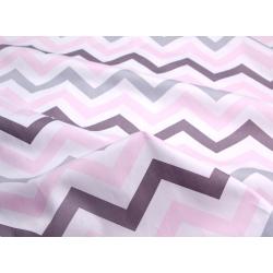 Ткань хлопок, 160 см, крупный серый, розовый зигзаг