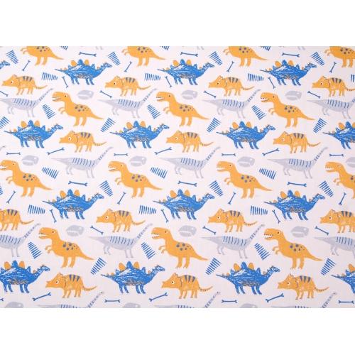 Ткань хлопок, 160 см, желтые и синие динозавры