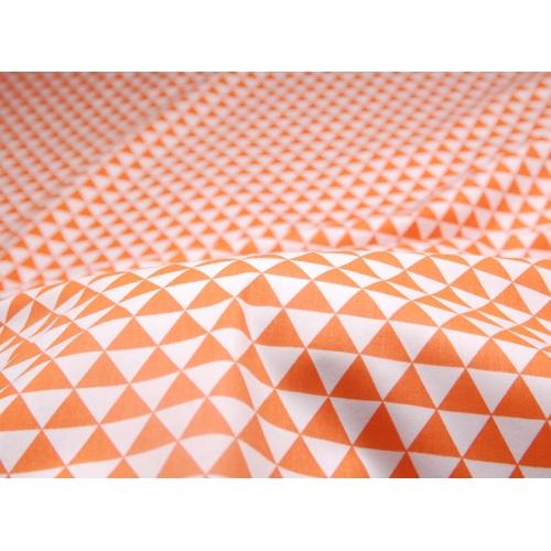 Ткань хлопок, 160 см, частые оранжевые треугольники