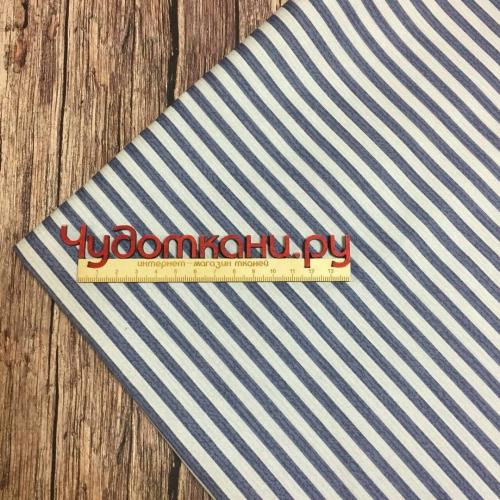 Ткань хлопок, 160 см, синяя и белая полоса (компаньон футбольный мяч)