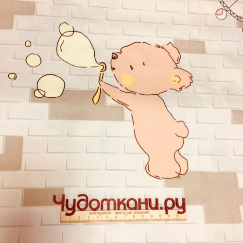 Ткань хлопок, 160 см, слоники, медведи (новинка)