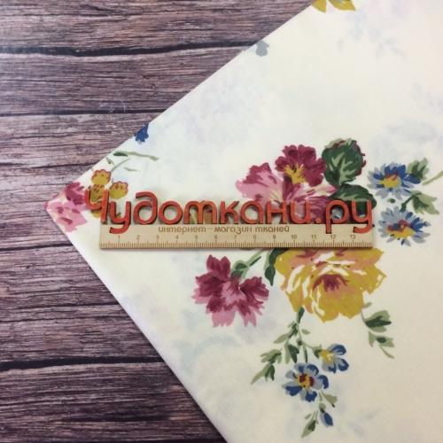 Сатин хлопок, 160 см, цветы B0181, бежевый фон