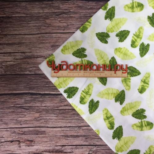 Сатин хлопок, 160 см, зелено-салатовые листья, светлый фон
