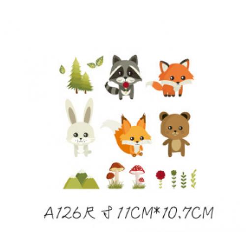 Термотрансфер, животные зайка, лисичка. мишка